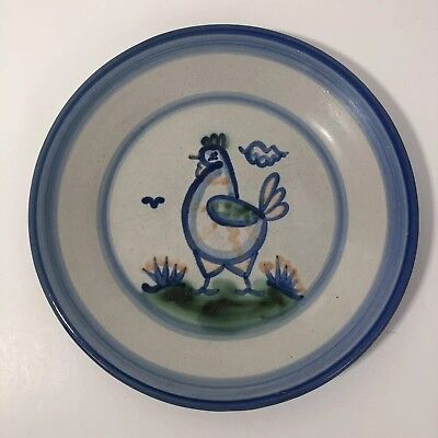 M A Hadley Salad Plate Blue Chicken Salad Stoneware Country Scene Pottery VTG
