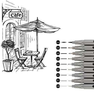 9pcs Micro Line Pens Ultra Fine Point Technical Drawing for Sketch Signature