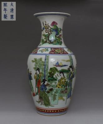 Fine Old Chinese Famille Rose Porcelain Ladies Vase Kangxi Marked 41Cm (493)