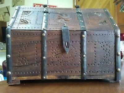 Featured in Antique Digest! 17th Century Primitive, Chip Carved Iron Bound Box.