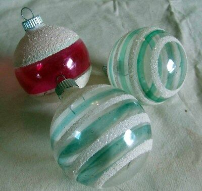 3 Vintage Shiny Brite Unsilvered with Mica Christmas Tree Ornaments WWll Era