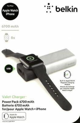 Belkin Valet Power Bank 6,700 mAh for Apple Watch and iPhone Silver and Black