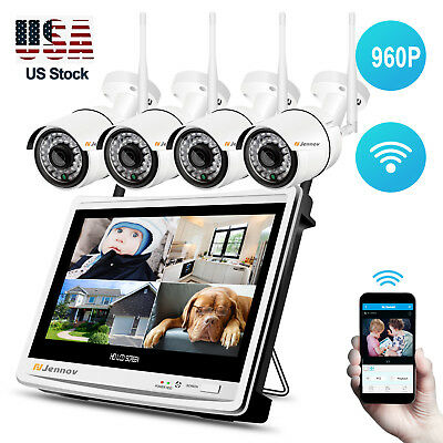 Wireless IP Security Camera CCTV System 4CH 960P 12'' LCD Monitor WiFi NVR Set