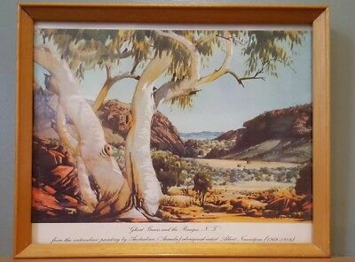 Vintage Albert Namatjira Print Ghost Gums And The Ranges Framed 27cms x 22cms