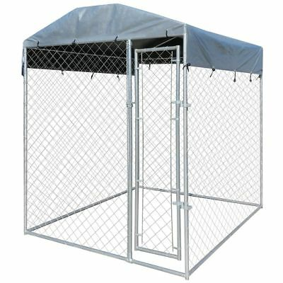 Steel Dog Cage for Kennel House Crate Roofing Fence Pet Enclosure 2 x 2 x 2.35m
