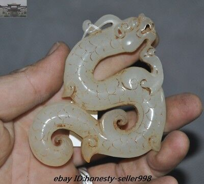 Old Chinese Fengshui Hetian jade Carved Dragon Pendant Sacrifice Funerary ritual