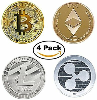 Bitcoin BTC Ethereum ETH Litecoin LTC & Ripple XRP Commemorative Coin Set