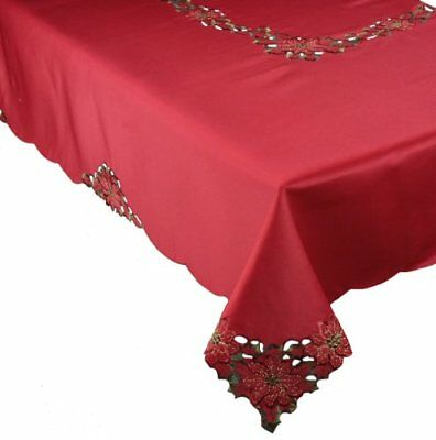 Xia Home Fashions Holiday Spirit Embroidered Cutwork Christmas Tablecloth, by