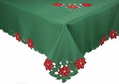 Xia Home Fashions Merry Cutwork Holiday Embroidered Cutwork 70-Inch by 120-Inch