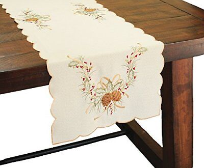 Xia Home Fashions Classic Pine Cone Embroidered Collection Christmas Table 16 by
