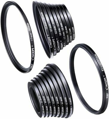 18pcs Lens Filter Metal Stepping Rings Kit 9pcs Step Up Ring 9pcs Step Down Ring