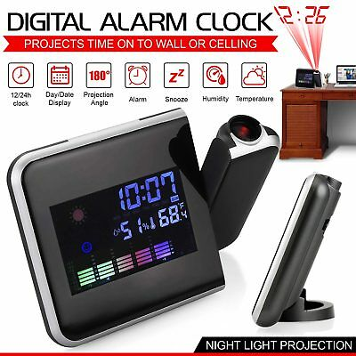 LED Projection Clock Time 3.7 LCD Display Thermometer Whether Alarm Calendar