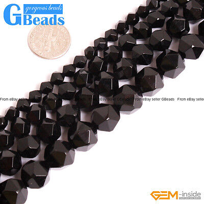 """Natural Black Onyx Agate Gemstone Faceted Polygonal Beads for Jewelry Making 15"""""""