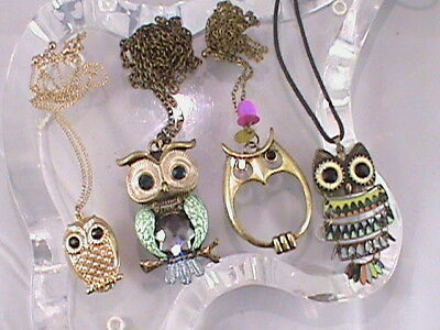Vintage Estate Jewelry Lot Of 4-Owl Charmed Necklaces