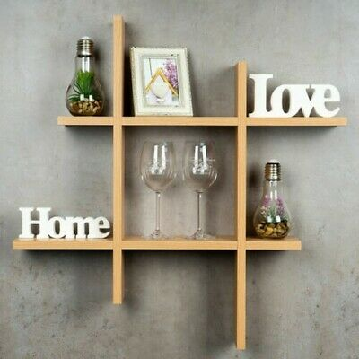 levandeo Hashtag Shelf Rack 75x75cm Wall Wood Bookcase Hanging Stacking