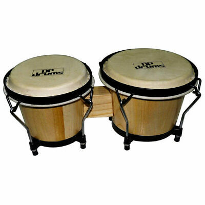 """DG Bongo Drums 6.5"""" 7.5"""" Natural Professional Tuning System Buffalo Hide Heads"""