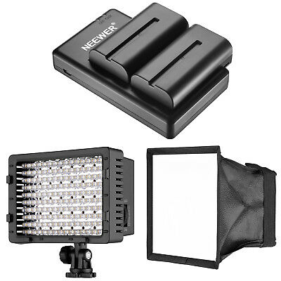 160 LED Dimmable Camera Video Light w/ Diffuser and Battery Charger Set