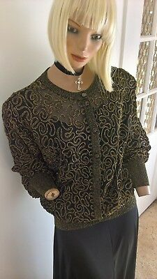 Vintage 80's gold glitzy squiggles & black l/s formal cardigan with bell sleeve