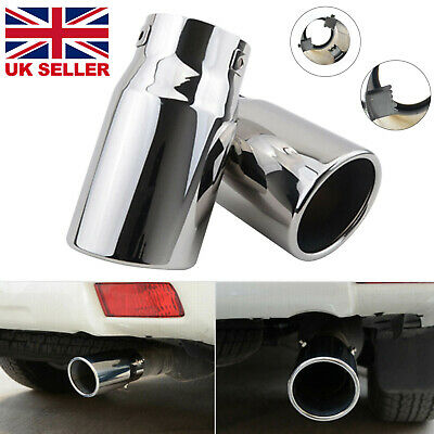 2X 75mm Chrome Stainless Steel tube Car Tail Exhaust Pipe Tip Trim End Muffler