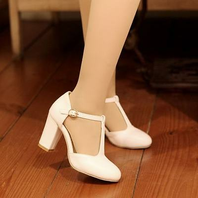 Sweet Womens T-Strap Bar Mary Jane Buckle High Block Heel Pumps Office Shoes HOT