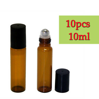 10 10ml Roller Bottles Amber THICK Glass Steel Roll on Ball for Essential Oils