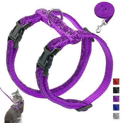 Sequins Cat Harness and Leash Escape Proof Pet Kitten Adjustable Strap Purple