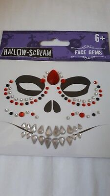 Halloween face gems stickers tattoo Day Of The Dead Sugar Skull Diamonte Red