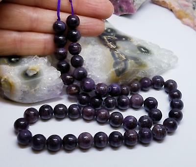 Rare Africaine Violet Minérale Sugilite Perles Rondes 39.4cm 8mm 215cts AAA 100%