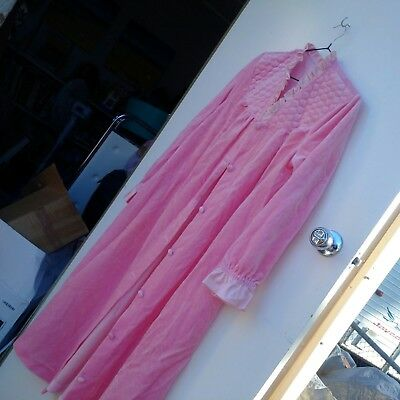 Vintage Baby Pink Dressing Gown Robe Nightgown Lingerie sz 14