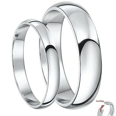 His & Hers Silver Ring Heavy Weight Court Silver Wedding Bands 3&5mm