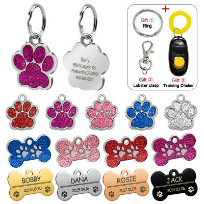 Glitter Paw Print Personalised Dog Tags Engraved Bone Pet ID Name Collar Tag