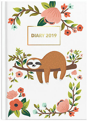 Diary 2019 Milford Cute Sloth A5 Day to Page White (1) 441526 inc Post