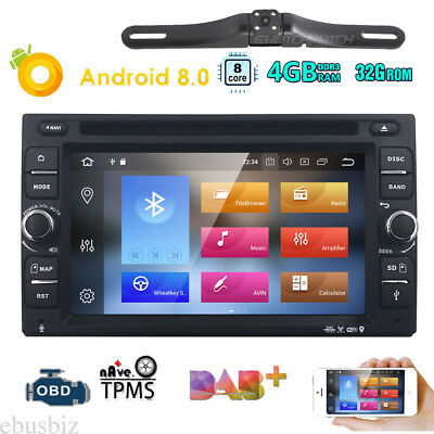 """6.2"""" Android 8.0 Universal Car DVD Player GPS Nav WIFI Radio Touch SWC BT+Camera"""