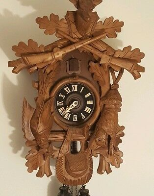 Vintage German Regula Black Forest 8 Day Germany Hunter Cuckoo Clock