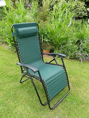 Garden Chairs - Green Sun Lounger Recliner Chair - Weatherproof Textoline