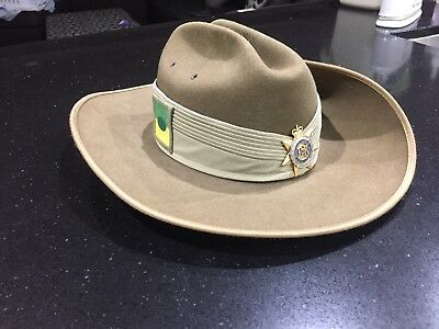 Royal Australian corps of transport slouch hat w badges and chinstrap 2011