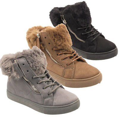 Ladies Winter Warm Snow Ankle Fur Lined Army Womens Boots Shoes UK 3 4 5 6 7 8
