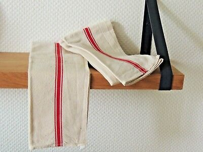 Antique 2 French tea Towels Linen Metis - VINTAGE Red stripe Country kitchen