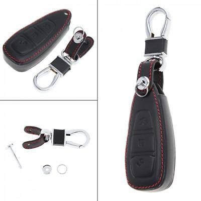 Leather Car Key Fob Case Remote Cover Chain for Ford Fiesta Focus Mondeo Kuga