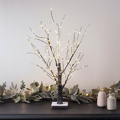Snowy Effect Pre Lit Battery Twig Tree 108 Warm White LEDs 65cm by Lights4fun