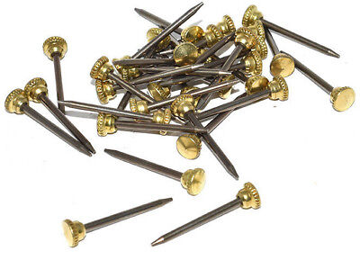 25 x BRASS HEADED KNURLED PICTURE PINS HEAVY DUTY NAIL HOOK PHOTO FRAME WALL