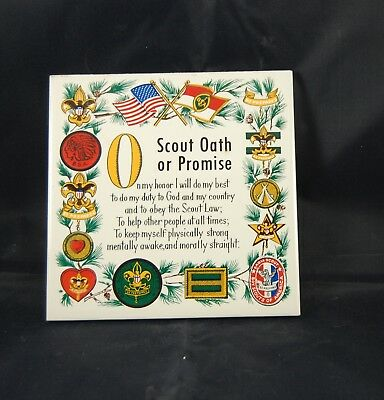 """Vintage Screencraft Trivet Tile With Boy Scout Oath 6"""" X 6"""""""