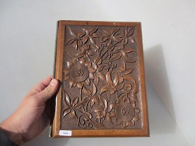 Antique Carved Wood Book Cover Guard Plaque Panel Leather Vintage Old Wooden
