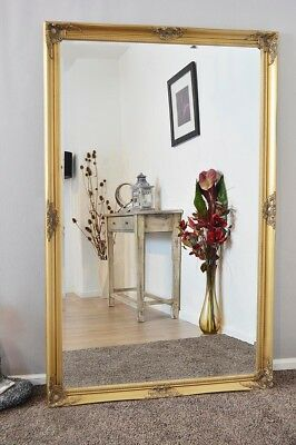 Large Wall Mirror X Gold Vintage Bevelled 5Ft6 X 3Ft6 168cm X 107cm)