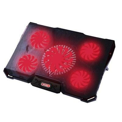 Laptop Cooling Pad 5 Quiet Fans Laptop LED Light 12 to 17.3 Inch 2 USB Ports