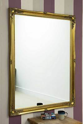 Large Wall Mirror 4Ft6 X 3Ft6 137cm X 106cm Gold Vintage Chic Ornate