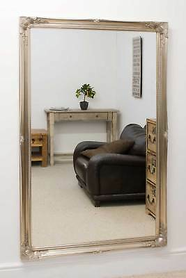 Large Wall Mirror V Silver Vintage Chic Ornate 5Ft6 X 3Ft6 167cm X 106cm