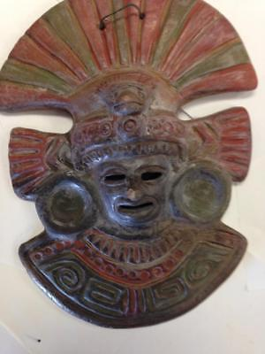 """Mayan Mask 10"""" Wall Hanging Rustic Terra Cotta Clay Pottery Mask from Mexico"""