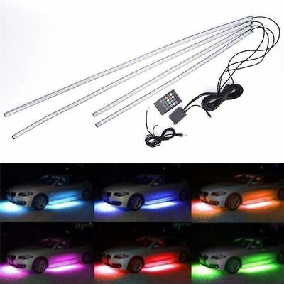 4X RGB LED Under Car Tube Strip Underbody Glow Neon waterproof Light Kit Wireles