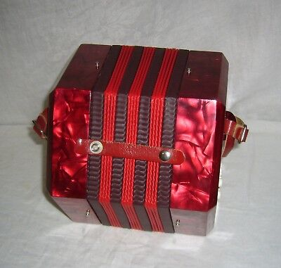 Vintage Made In Italy Red Peaerlized Finish Squeezebox Accordion